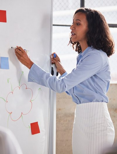 Mixed race businesswoman using whiteboard at a presentation